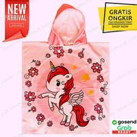 Kids Hooded Towel / Baju Handuk Hoodie Topi Ponco Renang Anak Unicorn
