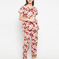 S/M/XL piyama st yves baju tidur st.yves red lotus pajamas STYVES