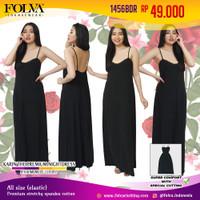 FOLVA dress tidur panjang tanktop wanita spandex 1456BDR hitam allsize
