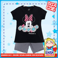 Baju anak perempuan/Setelan anak perempuan motif Minnie Black 1-10 thn - 1-2 tahun
