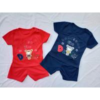Setelan OBLONG KATUN Bayi Usia 0-12 Bulan motif DADDY - Merah
