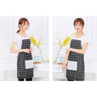 Apron Masak Bahan Kain Motif Simple / Celemek Masak / Celemek Dapur