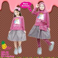 Baju Muslim Anak Little Pineapple Tunik Pink Unicorn 3-8 tahun