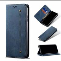 Case SAMSUNG GALAXY A12 Flip Cover Wallet Cloth Jeans Original Casing - Biru