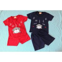 Setelan OBLONG KATUN Bayi Usia 0-12 Bulan motif SMILE - Merah
