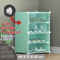 Rak sepatu plastik DIY rak buku tas 4 pintu /susun/kotak
