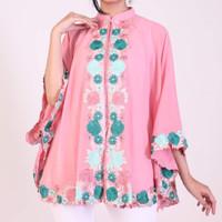 Baju pesta kebaya wanita muslim pink muda pastel fit big size