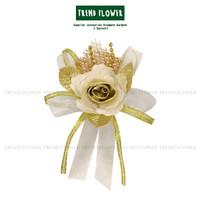 Bunga kain FARADIBA warna emas silver bahan organza diameter 9 cm buka