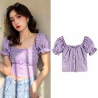 CARLA TOP - Crop Top Atasan Wanita Lilac Katun Kotak Korean Style
