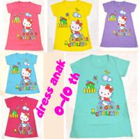 dress / daster anak perempuan 0-10 tahun hello kitty aneka warna - pink, S