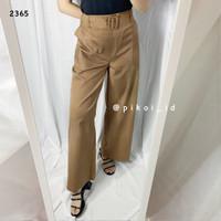 Celana kulot katun wanita / wide leg pants / celana panjang putih