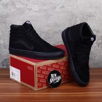Sepatu Vans SK8 Hi High Full All Triple Black Hitam Polos DT BNIB