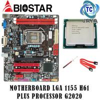 Paket Motherboard / mobo BIOSTAR LGA 1155 H61 + Processor G2020