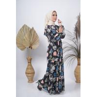 Baju Gamis Syar'i Dress Wanita Muslim Motif Bunga