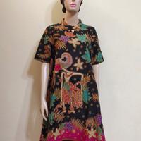 Dress Batik Wanita Karlin Batik Wayang Lengan pendek - Pink HijauToska, S