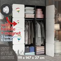 LEMARI Pakaian lemari baju plastik rak buku baju 12 ruang stiker cart