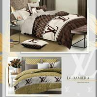 Seprei katun set bedcover motif LV ukuran 160x200-200x200