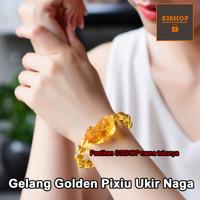 Gelang Batu Citrine Kuning Amber Cina Asli 13mm Bandul Pixiu