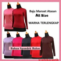 Manset Baju Wanita - Baju Manset Hitam Putih Pink Biru Coklat Mangset