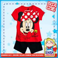Baju anak perempuan / Setelan anak perempuan motif Minnie Red 1-10 thn