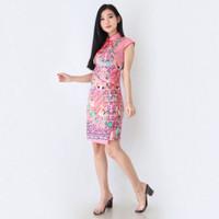 Midi Dress Wanita Cheongsam Qipao Sangjit Imlek Blossom Pink