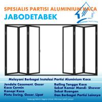 Pasang Pintu Geser Lipat dan Partisi Aluminium Kaca