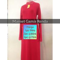 Manset Gamis Renda | Baju Gamis Renda | Dalaman Gamis - warna opsional