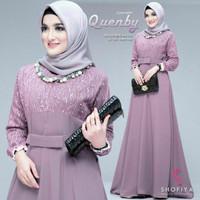 Gamis Modern Wanita Baju Atasan Muslim Syari Brokat Tile Pesta Quenby