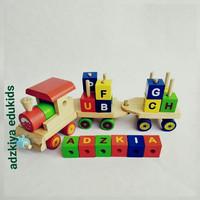 Mainan edukasi Kereta abjad Balok kayu pinus halus berkualitas