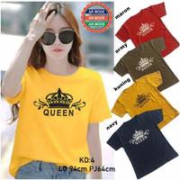 Promo COD Baju Kaos atasan Wanita Lengan Pendek Tshirt Cewek Queen