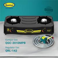 Paket Kompor Gas 2 Tungku QGC-201 DMPB dan Selang Regulator QRL 142