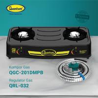 Paket Kompor Gas 2 Tungku QGC-201 DMPB + Selang & Regulator QRL-032