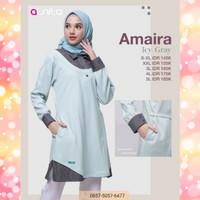 Alnita Tunik Amaira Warna Biru Blouse Kaos Atasan Rajut Branded Cantik