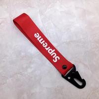 Supreme Gantungan Kunci mobil / Supreme car Keychain hype lanyard - Sup merah full