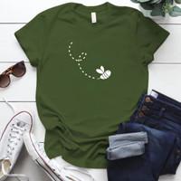 Kaos Wanita Bee / Tshirt Katun Combed 30s / Tumblr Tee - M, Army