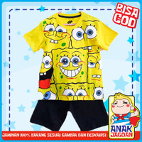 Baju anak laki-laki / Setelan anak laki-laki motif Spongebob 1-10 thn - 1-2 tahun
