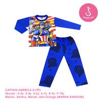 Baju Setelan Anak Laki-Laki Panjang Full Print Captain America Shirton
