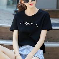 Kaos Wanita Love New / Tshirt Katun Combed 30s / Tumblr Tee - M, Abu Tua