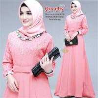 Gamis Wanita Modern Baju Atasan Muslim Syari Brokat Tile Pesta Terbaru - dusty