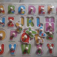 Puzzle huruf / Puzzle angka/ Mainan edukatif / Mainan kayu