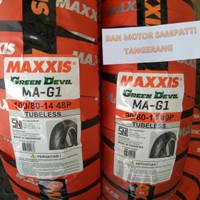 1 Set Ban Motor Maxxis Green Devil Uk. 90/80 - 100/80 Ring 14
