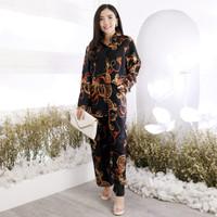 Setelan Baju Tidur Piyama Motif Flamboyan Wanita Tie Dye Jumbo Bigsize
