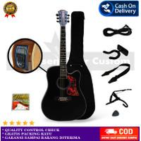 Gitar Coleclark Akustik - Full Aksesoris, EQ LCD-Hitam