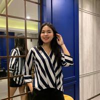 Blouse Garis Garis Stripe Vneck/Baju Kerja/Baju Atasan Wanita Glr 1315