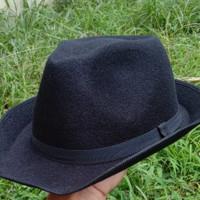 topi laken fedora hitam murah