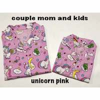 Piyama Couple Mom and kids | Piyama Couple Unicorn Pink | Unicorn Pink