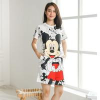 BM - Dress Mickey Mouse Comic Baju Wanita Casual YJH