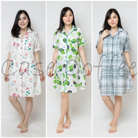 DRESS daster piyama wanita dewasa baju tidur katun motif terusan