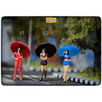 Figure skala 64 Umbrella Girl (Johnny Lightning, MiniGT) Diorama 64