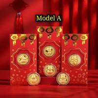 Angpao Emas 2021 Shio Kerbau Model A / Angpao berlapis emas au999